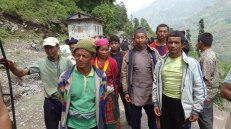 Porters from Alampu. We hired them to carry solar lights and mothers' supplies to the village.