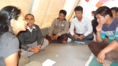 Meeting with local teachers and coordinators at Sankhule IDP Camp, Kalikasthan