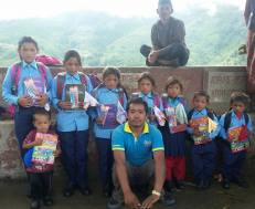 Children from the two families in their new school uniforms (with Bikesh Thami, local volunteer who delivered the items). They also received school shoes, bag, books and stationery. Support for this initiative was provided by Nehi Fund.