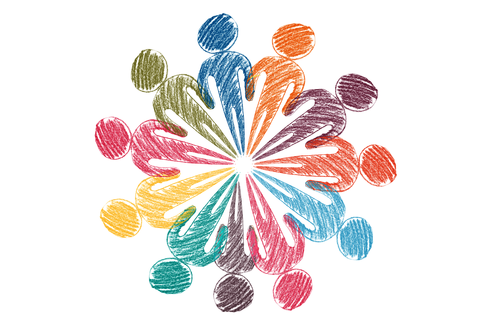 artistic graphic of people in a circle