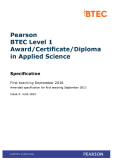 BTEC Level 1 Applied Science Pearson Qualifications