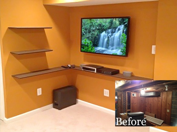 Bowie Basement Remodel before and after