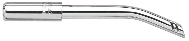 4.25 inch High volume aspirators feature tissue relief slots and a flattened surface to aid in retraction.