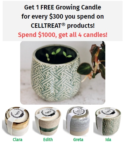 Get 1 FREE Growing Candle for every $300 you spend on CELLTREAT products!