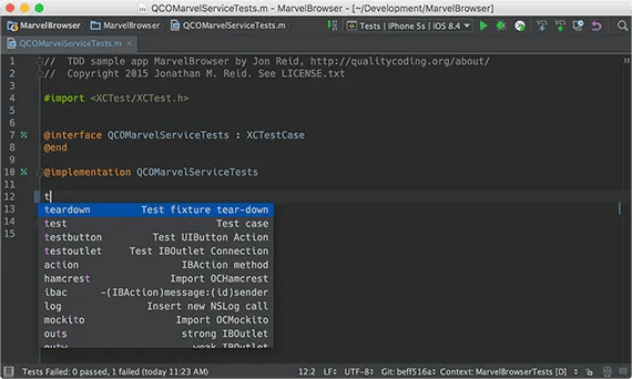 Test templates in AppCode