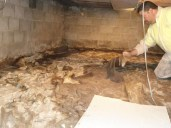 Quality Foundation Repair - Crawl Space Vapor Barrier / debris are removed