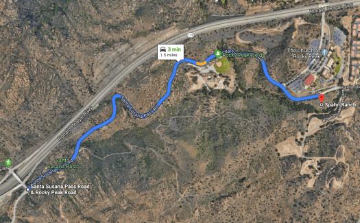 Santa Susana Pass and Spahn Ranch satellite image