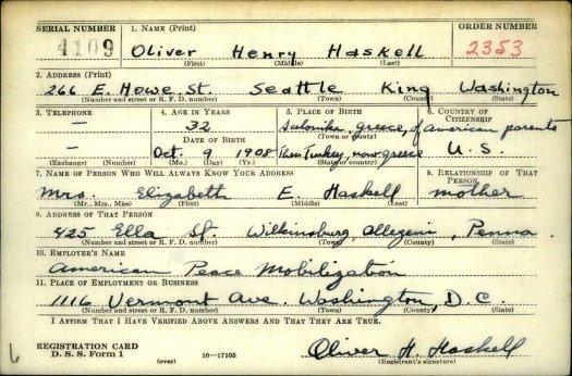 Oliver Haskell Draft Registration