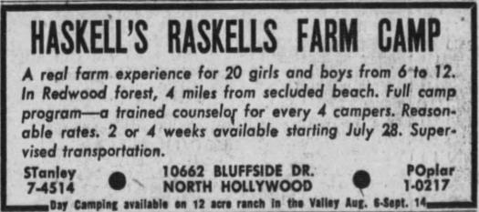 Haskell's Raskells Ad 22 Jul 1956