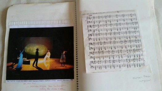 DCK photo of performers, installation, Michael Bayer music score 1992 Armory
