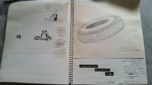 DeGroodt DCK sketchbook, Rudy Perez, Old Ruth St. Denis, tires with text scenes 1991