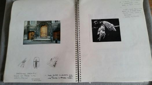 DeGroodt DCK sketchbook Rudy Perez, art nouveau door facade, tomb on back scene