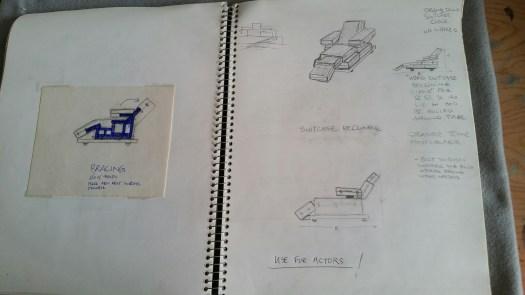 Steve DeGroodt, DCK sketchbook, deckchair for actors made of suitcases, 1992
