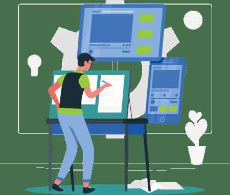 illustration of man working on a UI/UX design