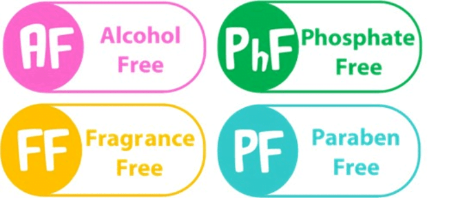 Fragrance/Alcohol/Phosphate/Paraden Free icons
