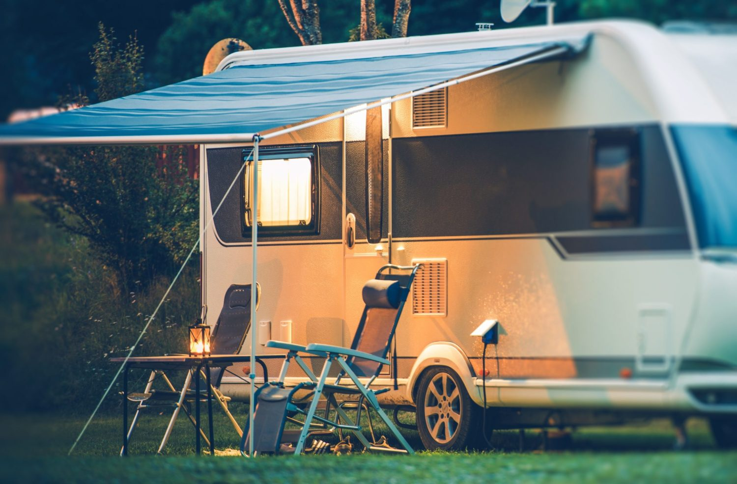 Caravan with awning cover