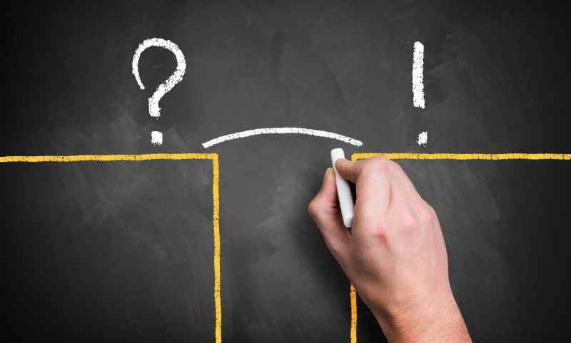 Résolution d'un problème sur un tableau à craie lien entre un point d'interrogation et d'exclamation