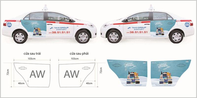 Báo giá quảng cáo trên Taxi – Vi trí hai cách của xe
