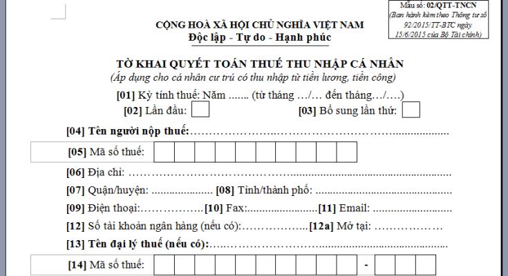 Quyết toán thuế TNCN năm 2019