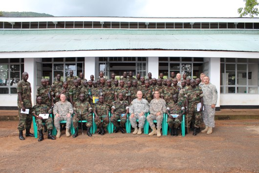 The CJTF-HOA Rule of Law Office and members of the U.S. Army's 490th Civil Affairs Battalion - Charlie Company pose with members of the Uganda Peoples' Defence Forces (UPDF) after training Ugandan military personnel in Human Rights Las. (Source: United States Africa Command)