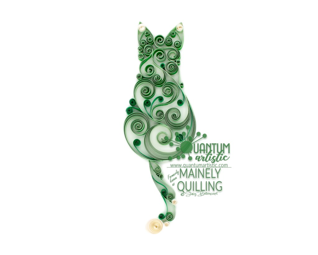 Green Quilled Scrollwork Cat