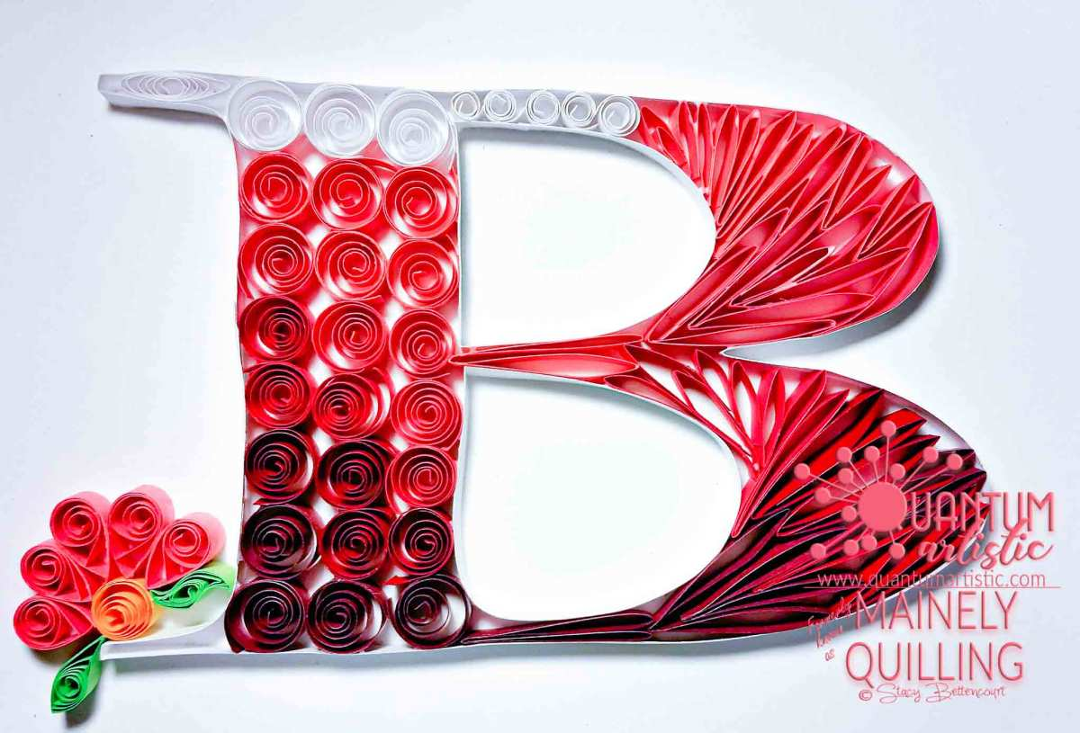 Pink Quilled Letter B Monogram