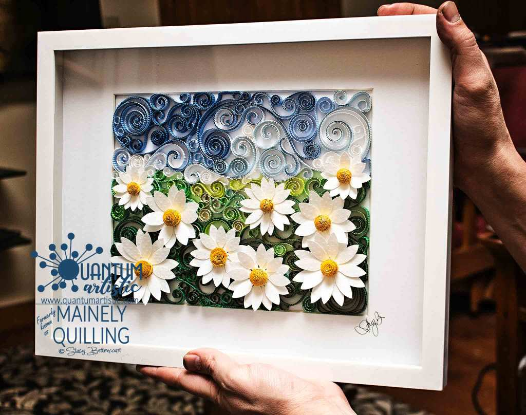 Quilled Daisy Scrollwork Landscape
