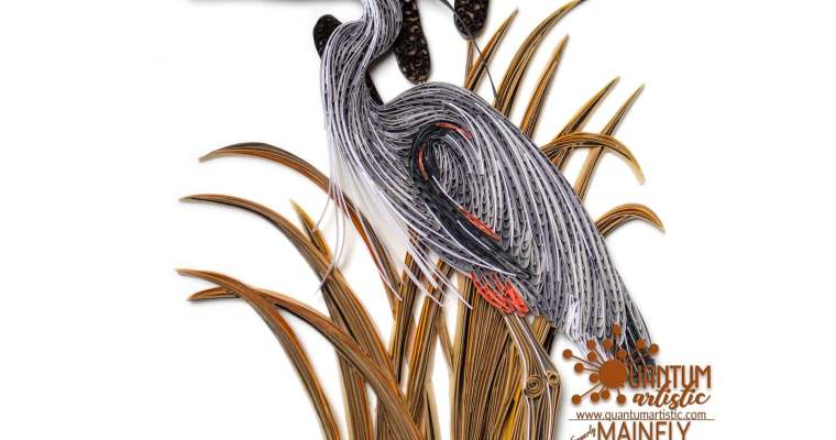Quilled Great Blue Heron | In Reeds