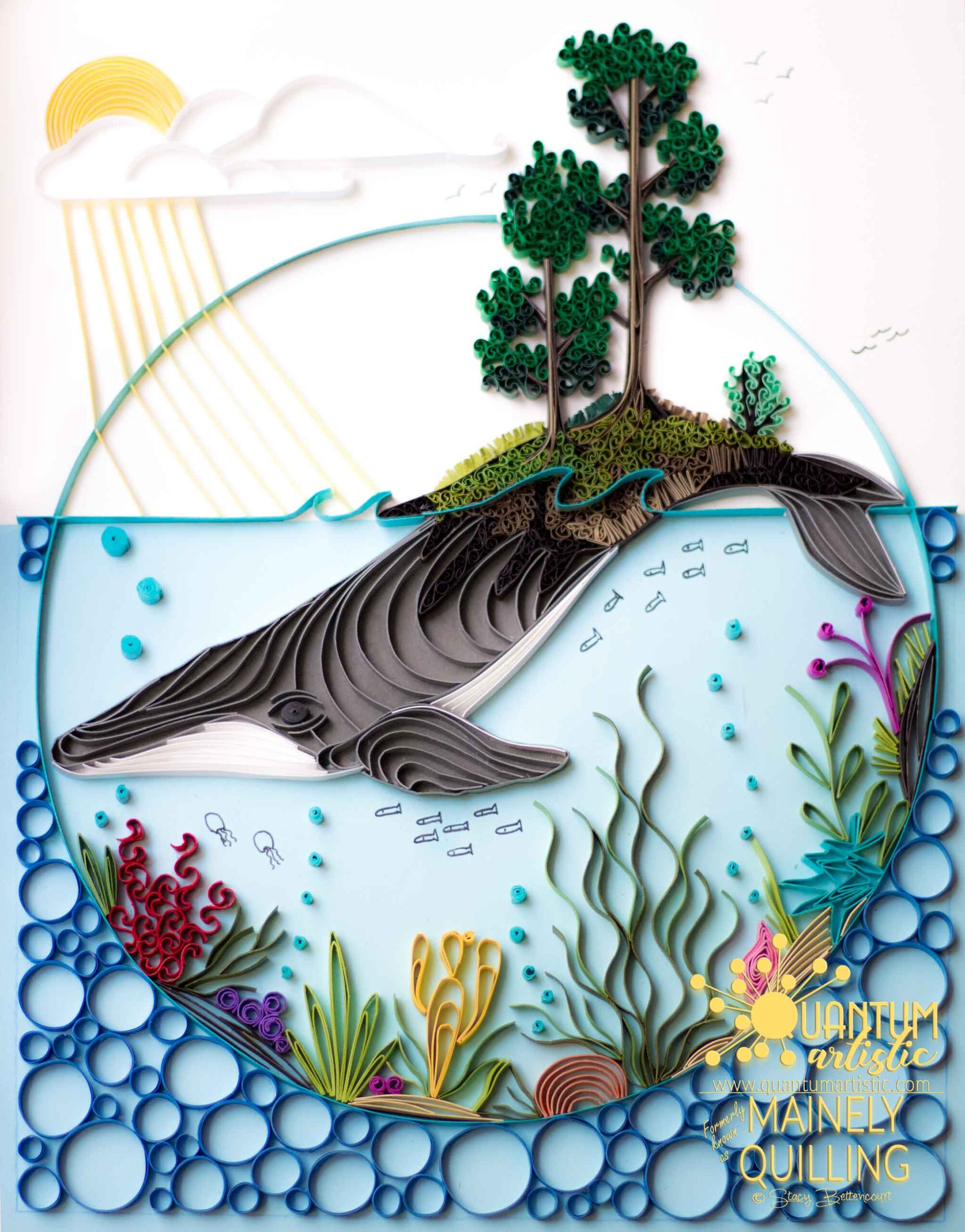 Quilled Whale Ocean Scene