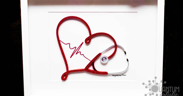 Paper Quilled Heart Stethoscope | For a Nurse