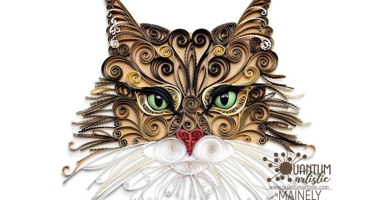 Quilled Maine Coon Cat Portrait