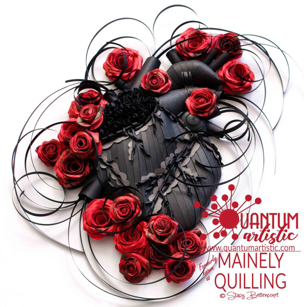 Quilled Gothic Blackened Heart