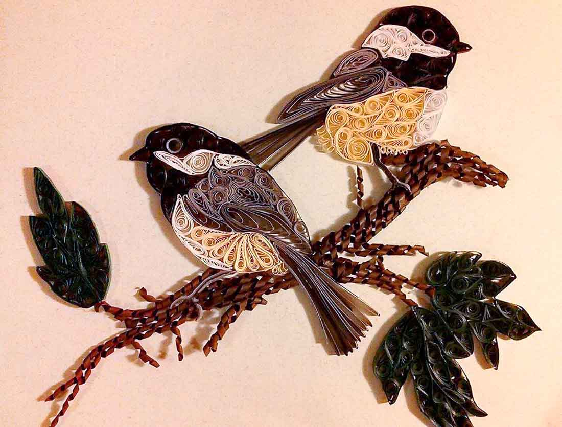 Paper Quilled Chickadee Pair