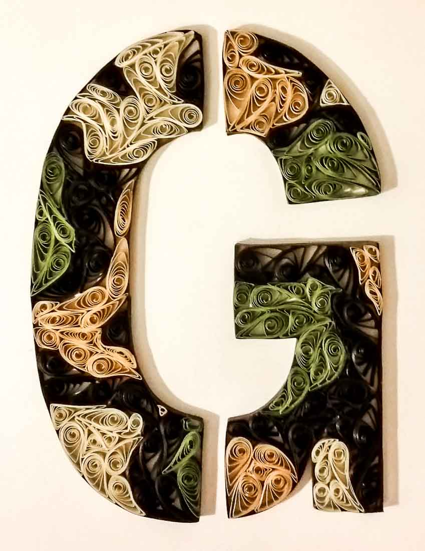Paper Quilled Camouflage Letter G