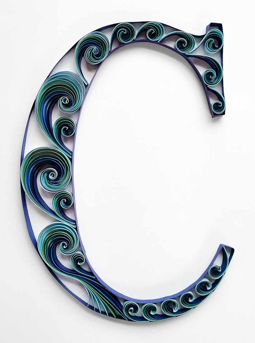 Quilled Blue Scrollwork Monograms   Letter C