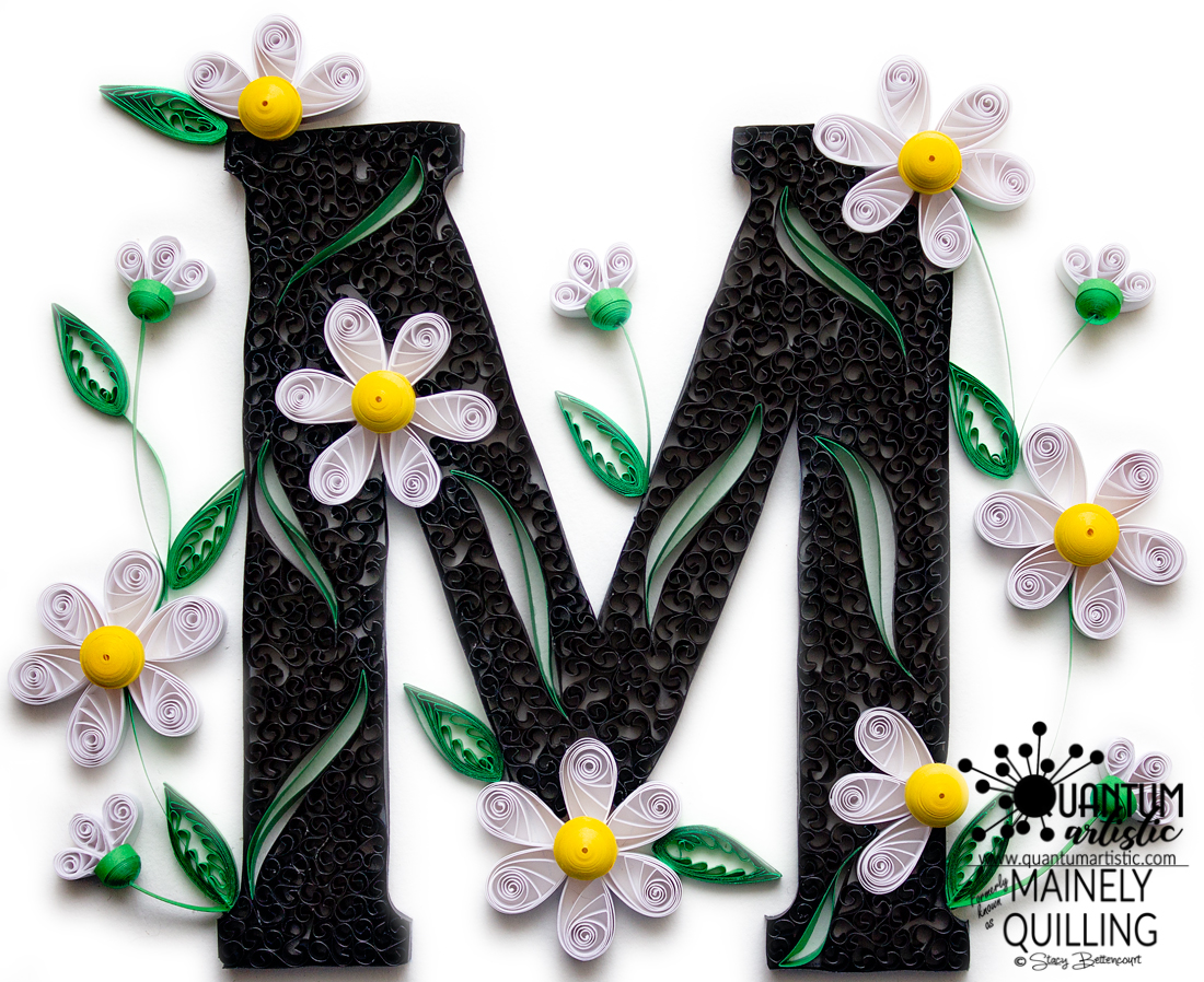 Paper Quilled Daisy Monogram   Letter M