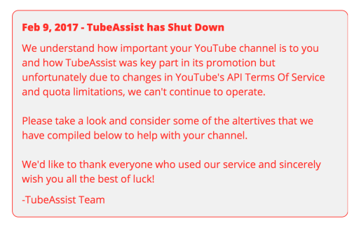 Message de fin d'assistance de tube
