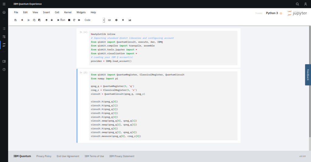 Using the Qiskit framework and language within the IBM Q experience. Jupyter notebooks are integrated which allow a seamless transition between pictorially represented gates and Qiskit code.