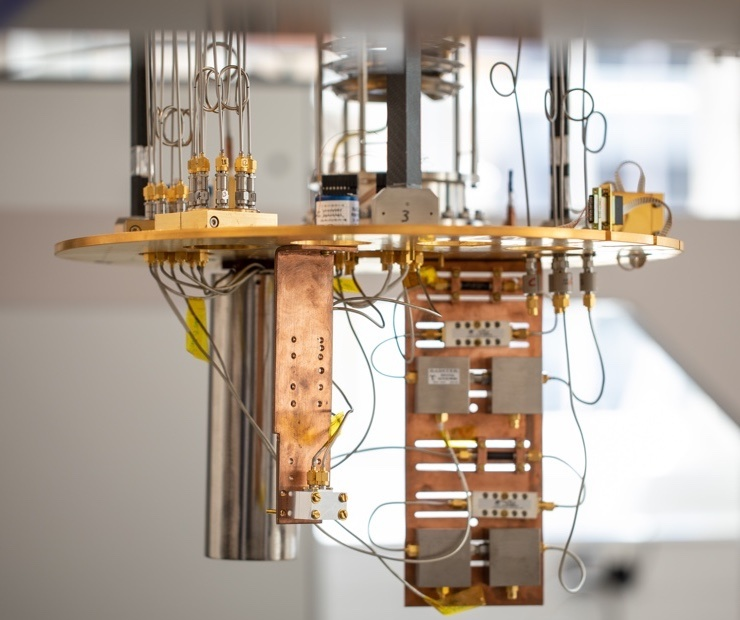 Oxford Quantum Circuits Hardware on display. The company hopes to transform Quantum Computing with its custom chip designs.