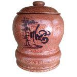 Bình Giữ Ấm Trà Gỗ Dừa Khắc Hoa Văn Lồng Chữ Nhẫn Và Bình Trà 700 – 950ml – [Quà Quê Dừa]