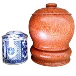 Bình Giữ Ấm Trà Gỗ Dừa Nguyên Khối Và Bình Trà 400 – 700ml – [Quà Quê Dừa]