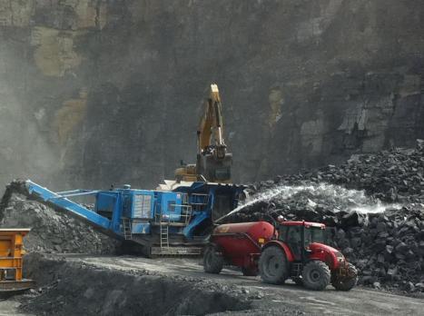 Dowling Quarries Ltd Dust Suppression Unit on Quarry Floor
