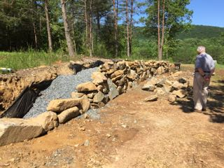 rock walls under construction