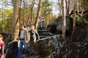 Rip and Tracy Verkerke descending the rock stair