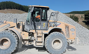 This loader was called number 49 as it was bought new on Mike Ross' (operations manager at Rock Products) 49th birthday. The operator is Marilyn who normally drives a dump truck. She turned up with a hired machine and ended up staying on at the quarry.
