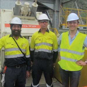 Surjit Singh, project engineer, Metso Australia; Robert Palmer, project manager, Metso Australia; and Vincent Gibert, project manager, Metso France during the commissioning of the horizontal impact crusher