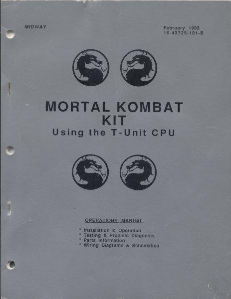 Mortal Kombat Kit (T-Unit CPU) Arcade Game Manual for sale