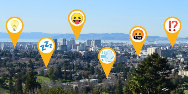 A variety of emojis over the landscape of Oakland, demonstrating the different levels of engagement among students during remote learning.
