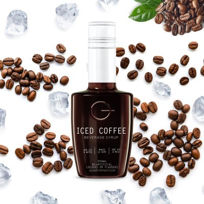 QUARTERPAST Iced Coffee Concentrate 250mL bottle with real ingredients in the background