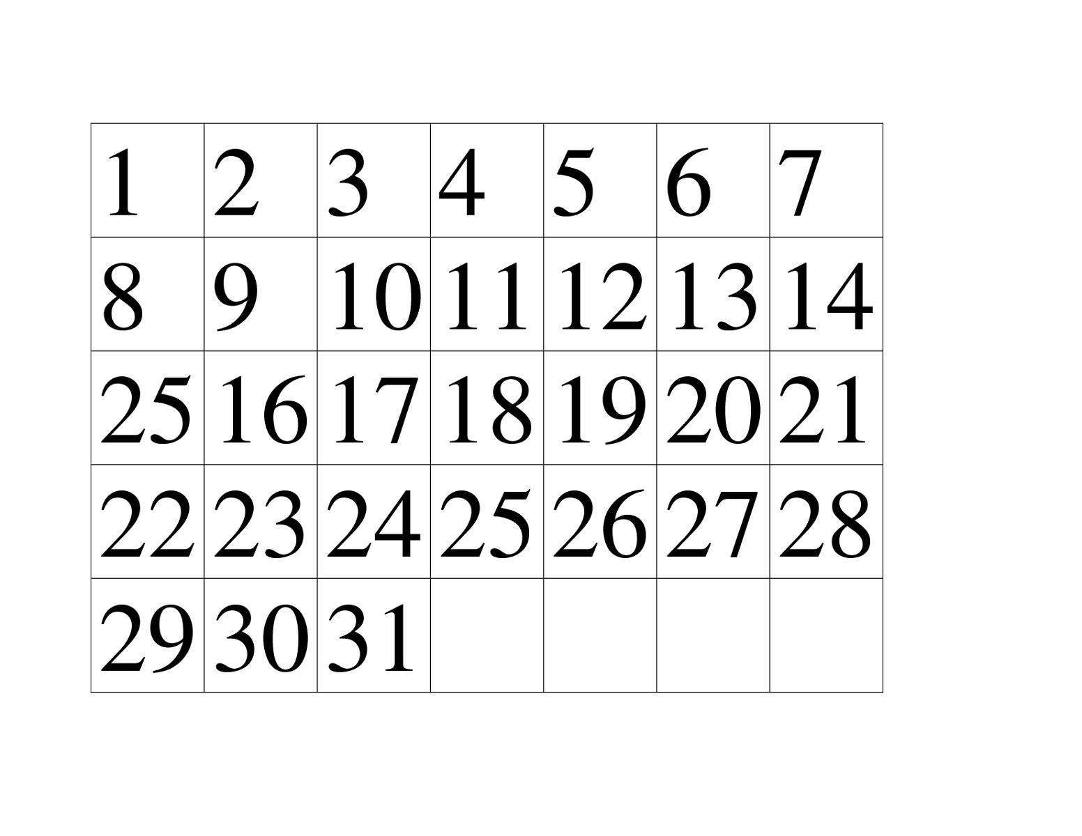 Effective Numbers 1 31 Printable